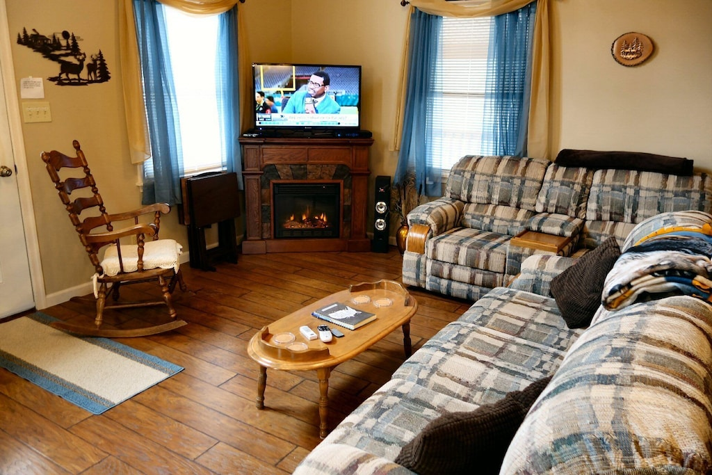 Warm fireplace and HD TV in the living room