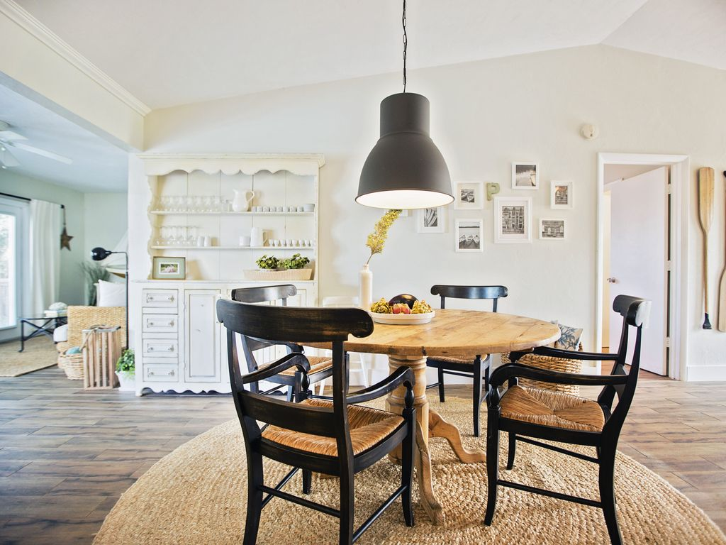 Dining area with a vintage Pottery Barn dining table.