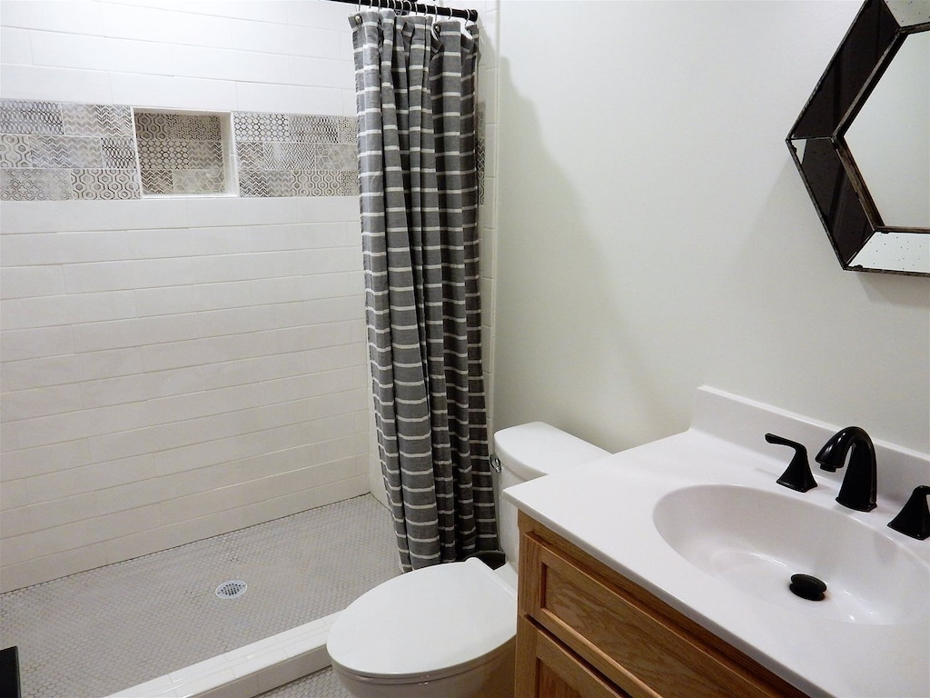 Hall bath with large walk in shower