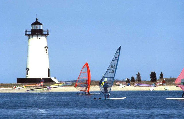 Windsurfers at the nearby Edgartown Lighthouse Beach
