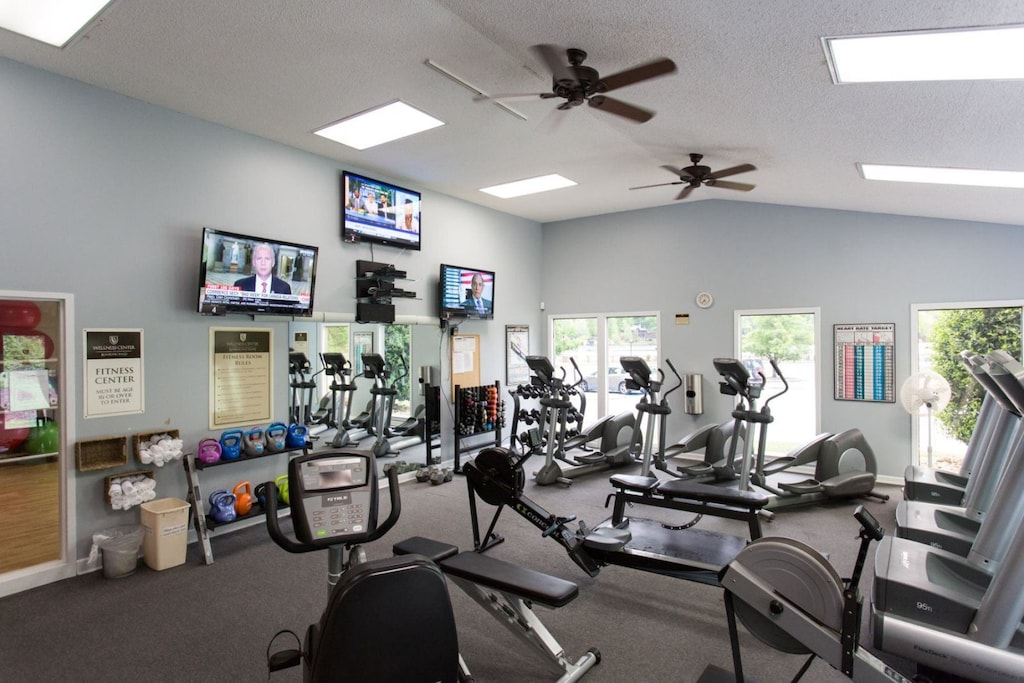 Cycle, step, lift weights and watch TV or listen to music while you workout.