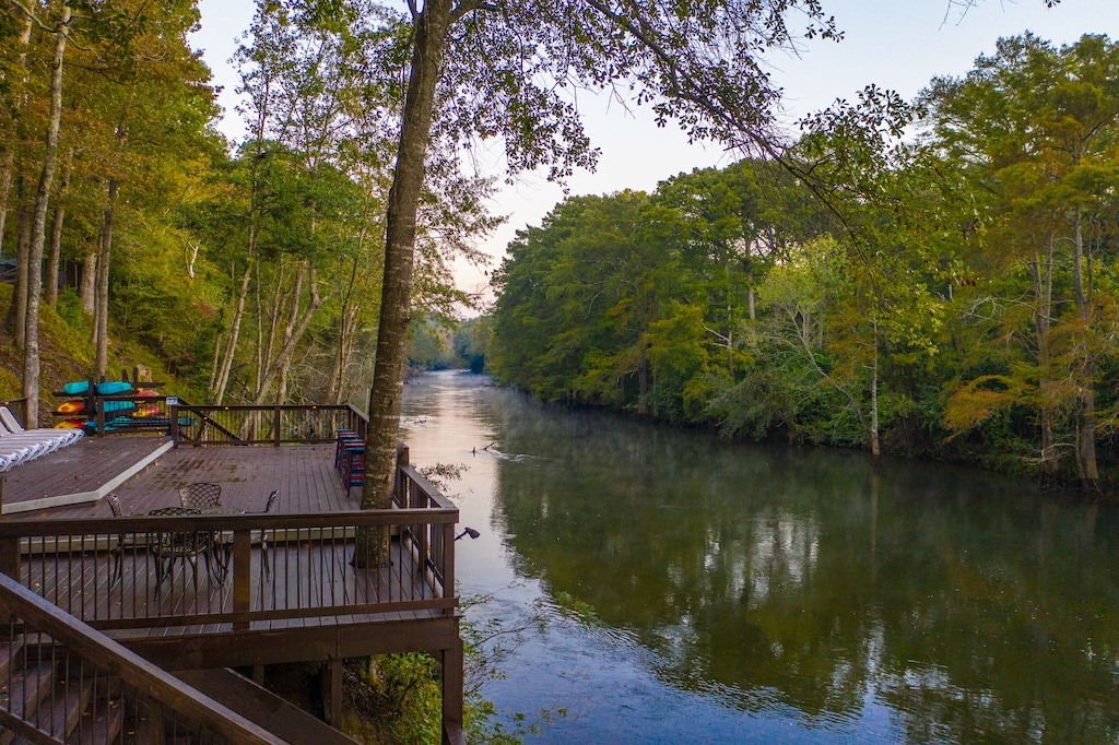 Access to Mt Fork River for fishing, swimming, or kayaking right at the cabin.
