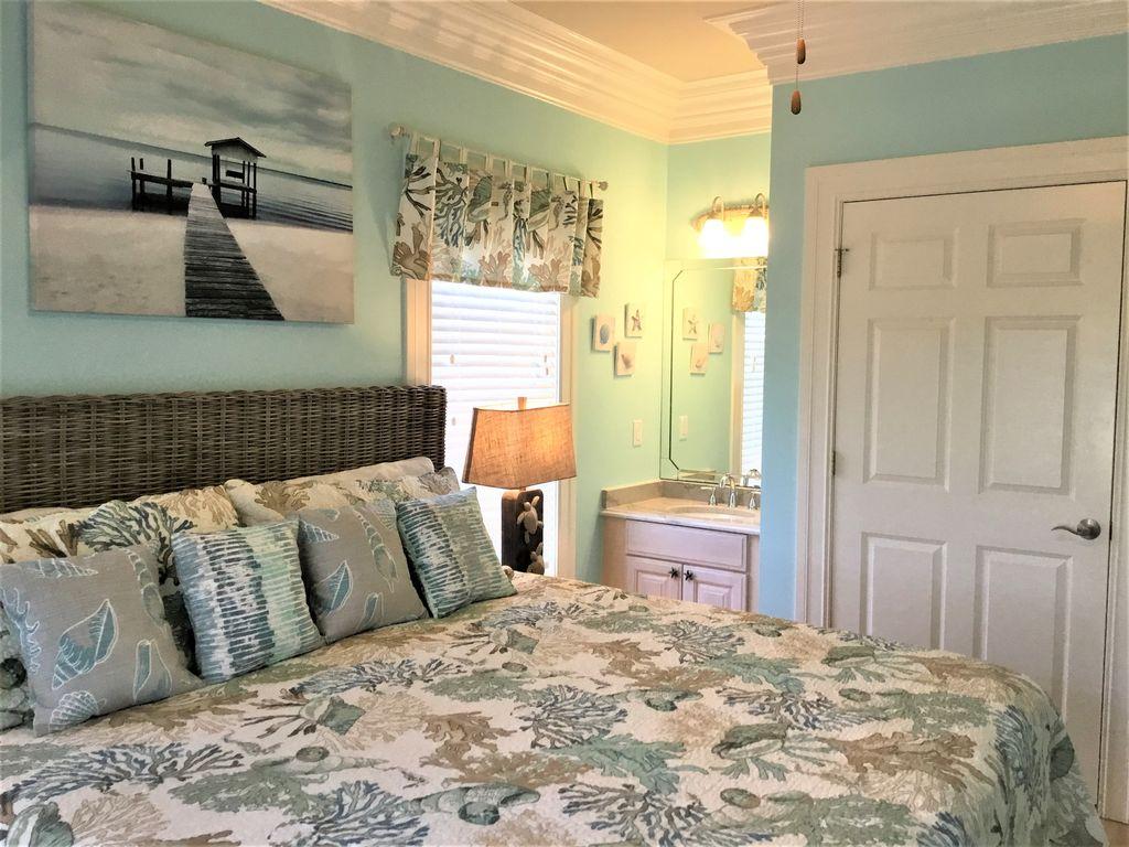 1st Floor Guest Bedroom 2, King bed, TV, Vanity