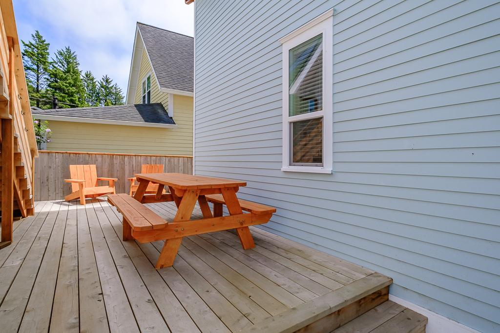 Deck space is a bonus for enjoying the coastal outdoors.