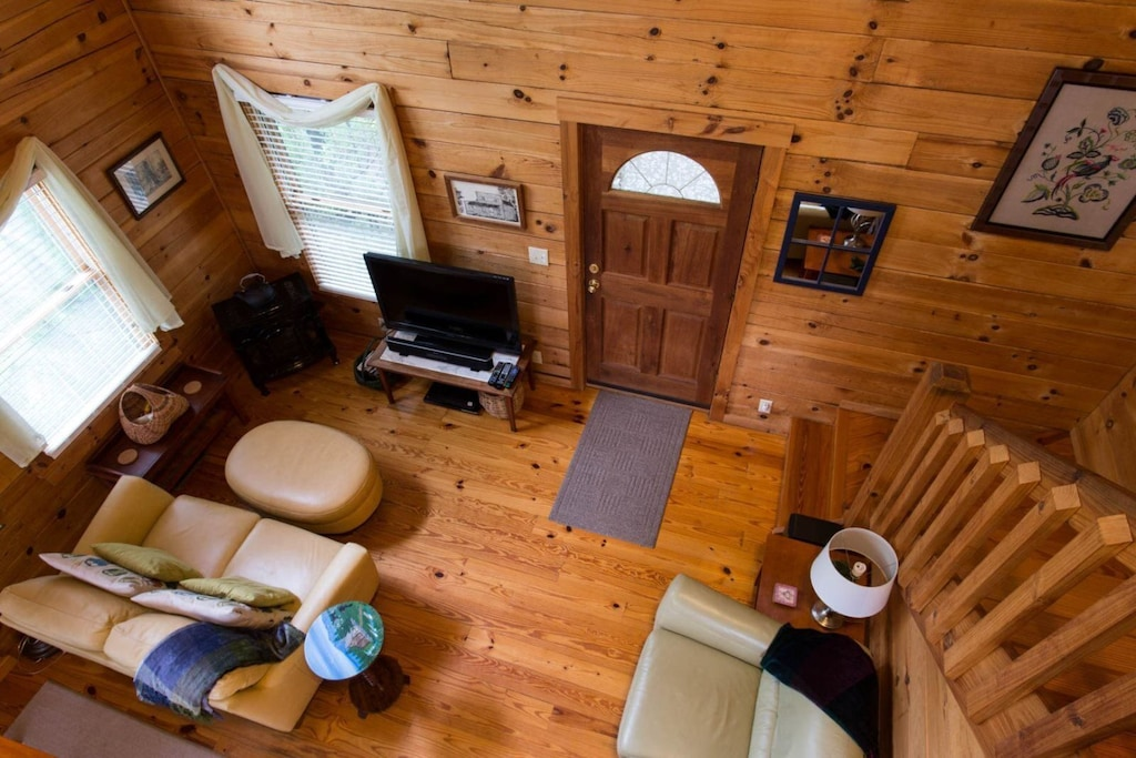 This is the view of the living area from the loft.
