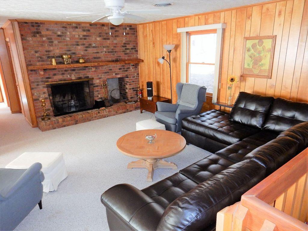 A wood fireplace