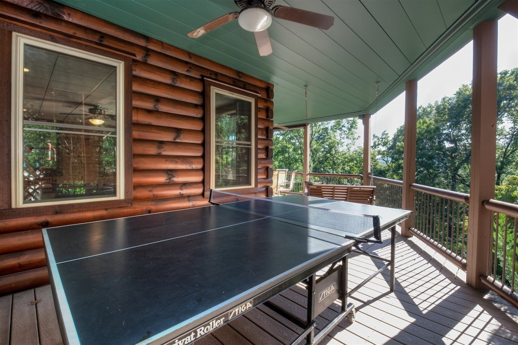 Ping Pong table on lower deck
