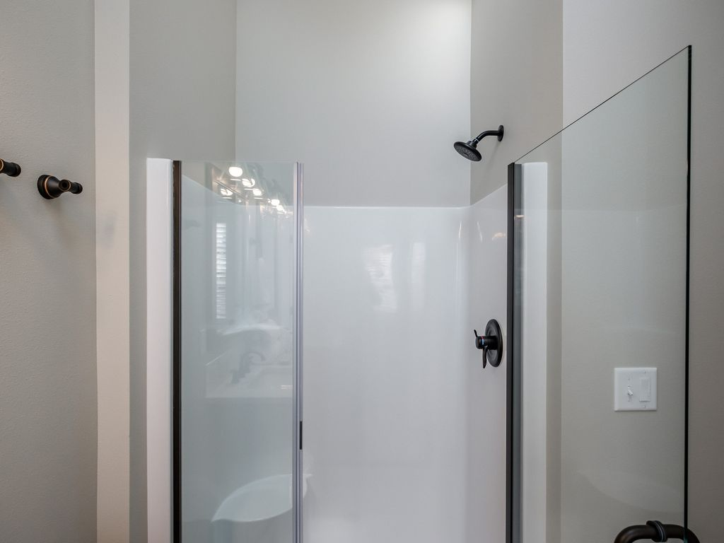 Sexy shower with skylight.