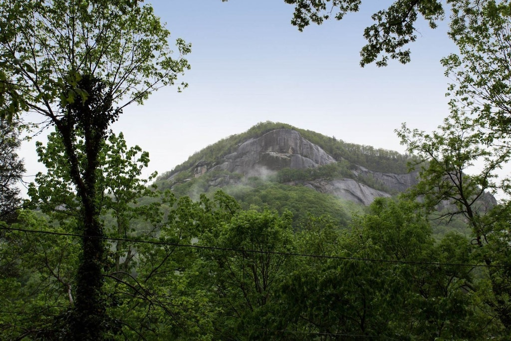 You can see the iconic Chimney Rock right from the home.