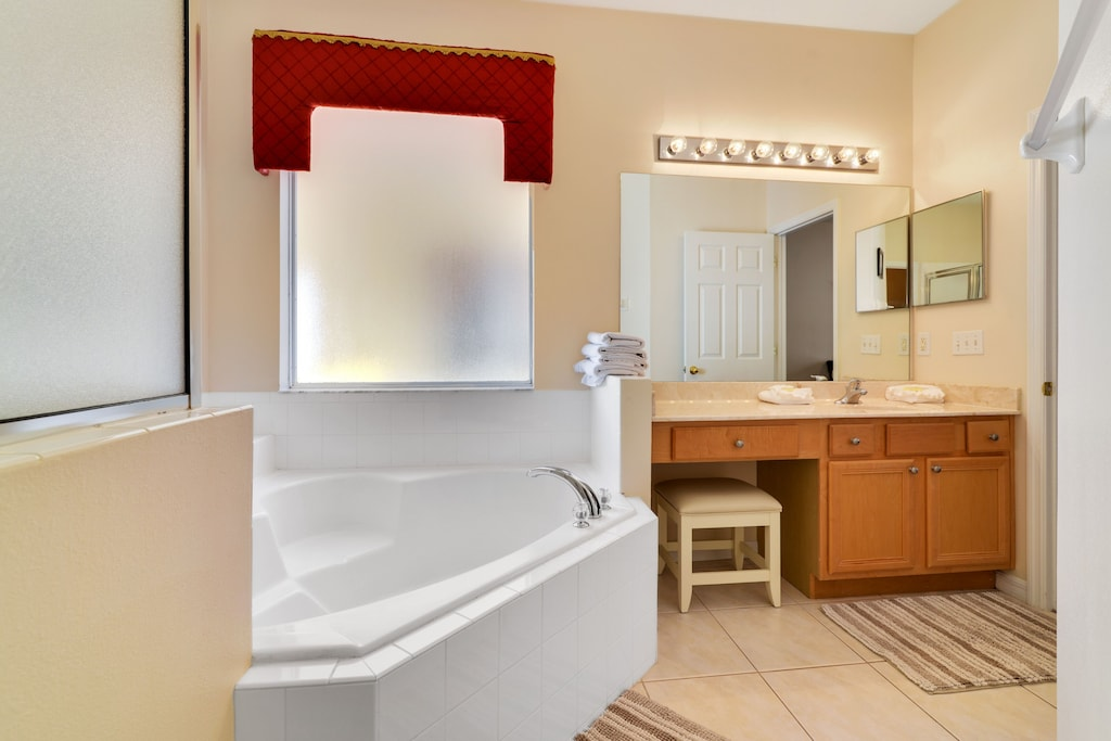Huge garden tub and a shower stall.