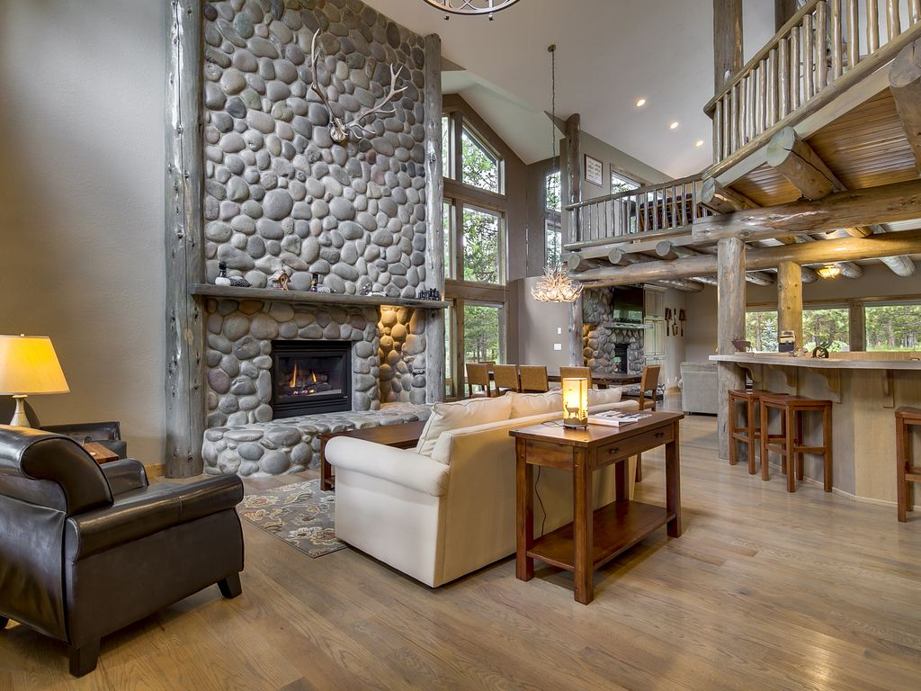 Great Room with 22ft tall river rock fireplace!