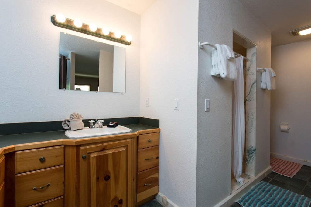 There is also a walk-in shower.