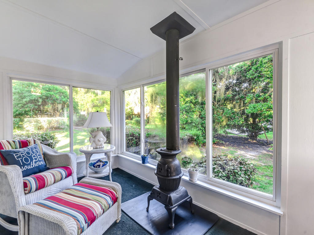Sun Room with Pot Belly Stove