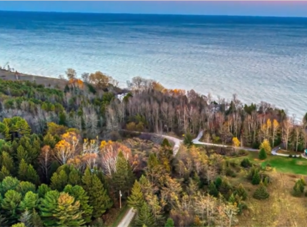 Aerial View! The Lighthouse is on a secluded lot but close to Northern Door County!
