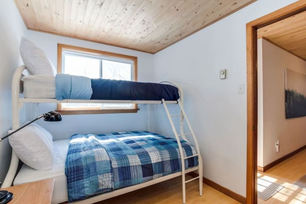 One of the upstairs bunk rooms with a double on the bottom