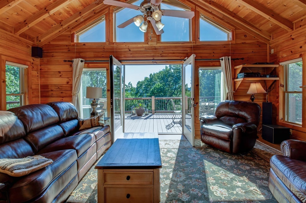 Main level great room opens to spacious wrap around deck
