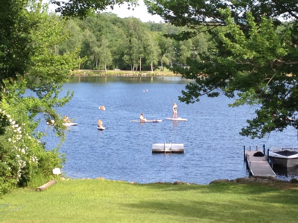 Paddle boards playing in the bay.  Note the swim platform for all to use!
