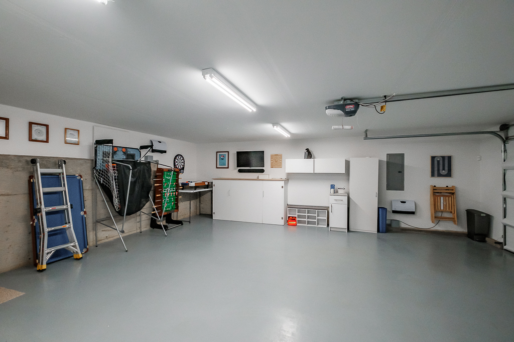 Garage doubles as a play zone, with Foosball, hoops, and more!