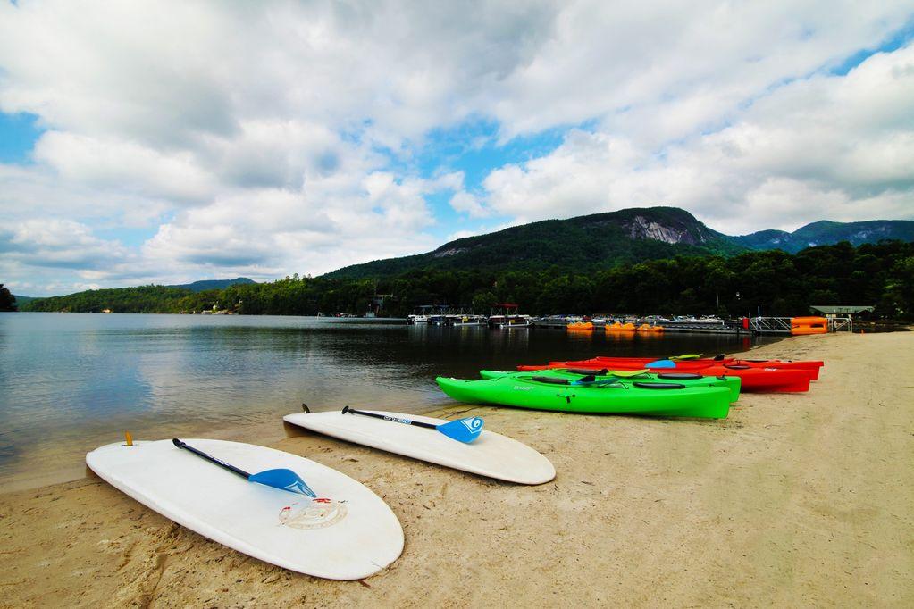 Rumbling Bald Resort has canoe, kayak, pontoon rentals.