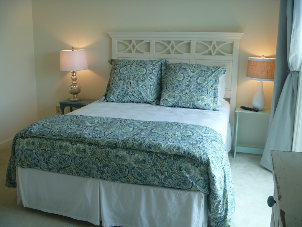 2nd bedroom, queen bed, private bath and balcony