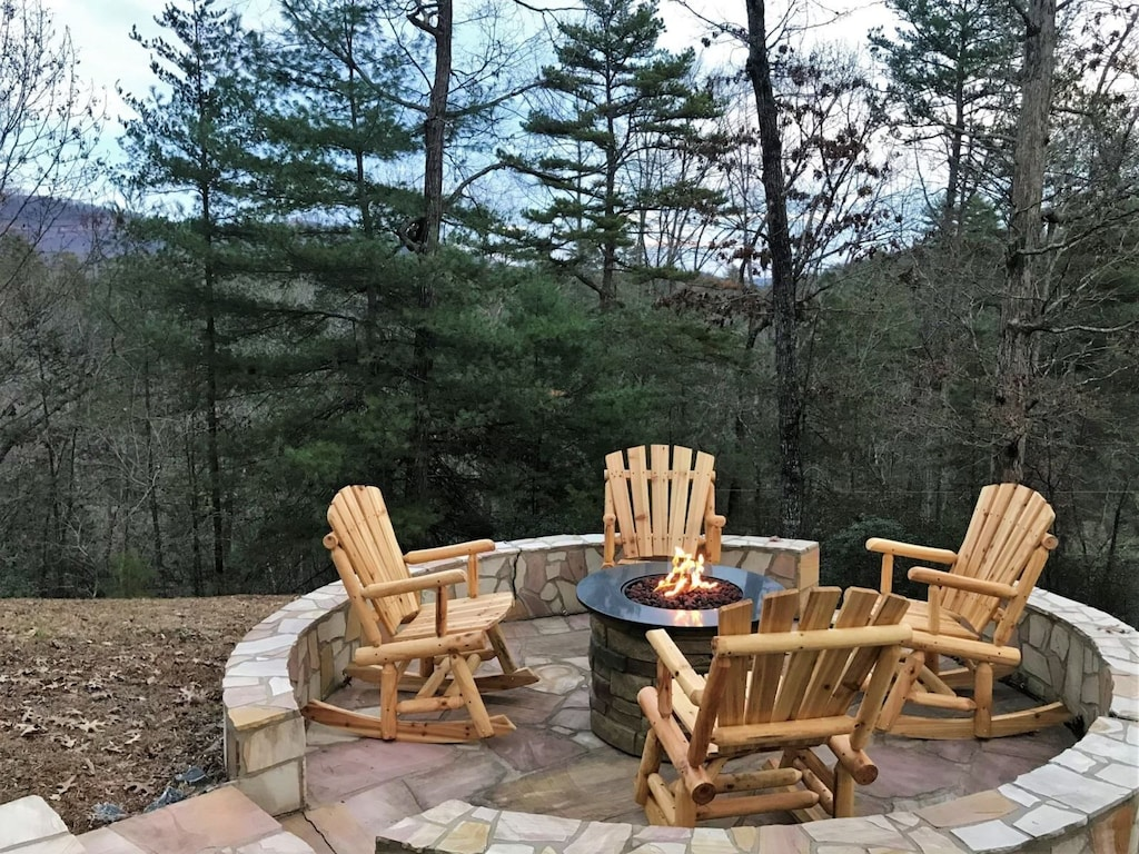 Rocking chairs by the fire pit