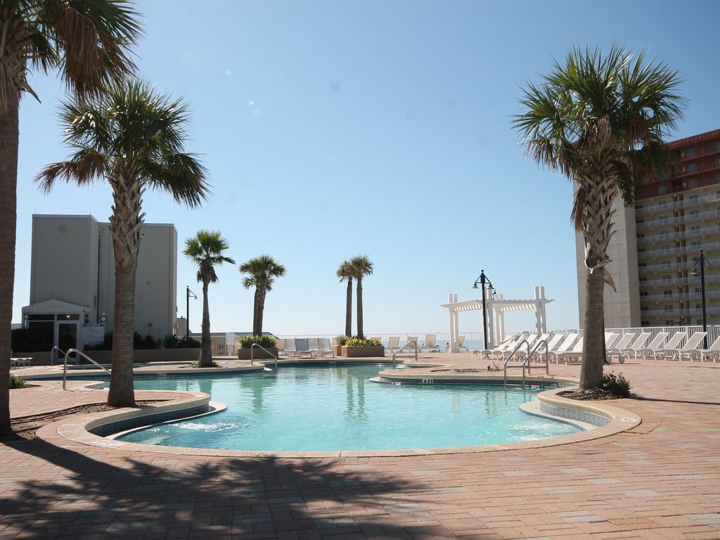 Roof top pool has a beautiful view of the gulf