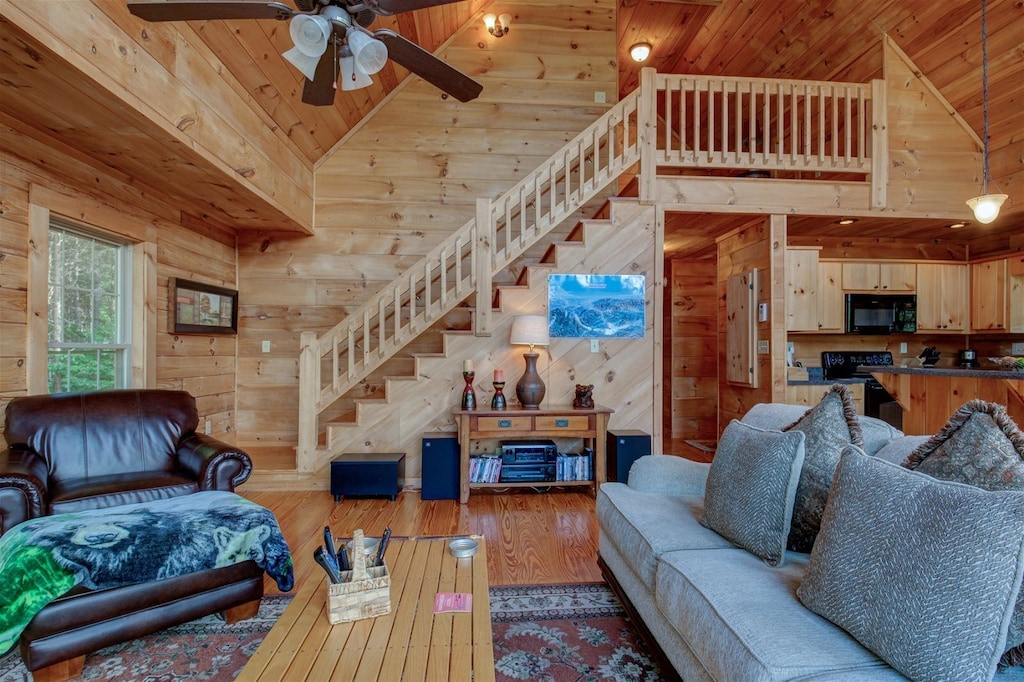 Living room and stairs to the upper level