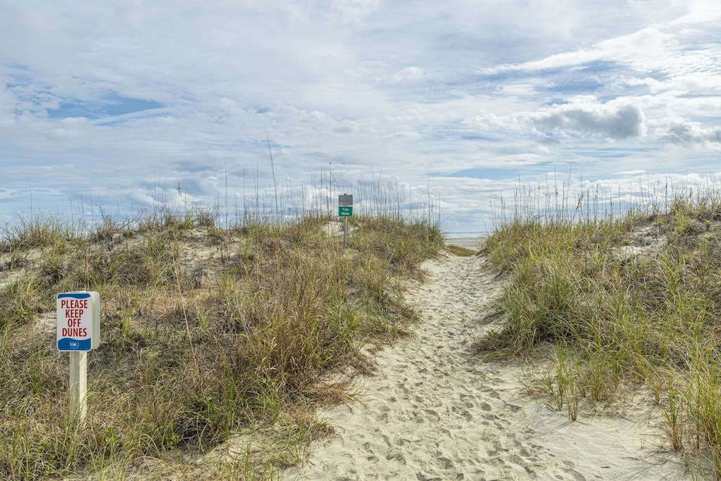 Beach access through dunes