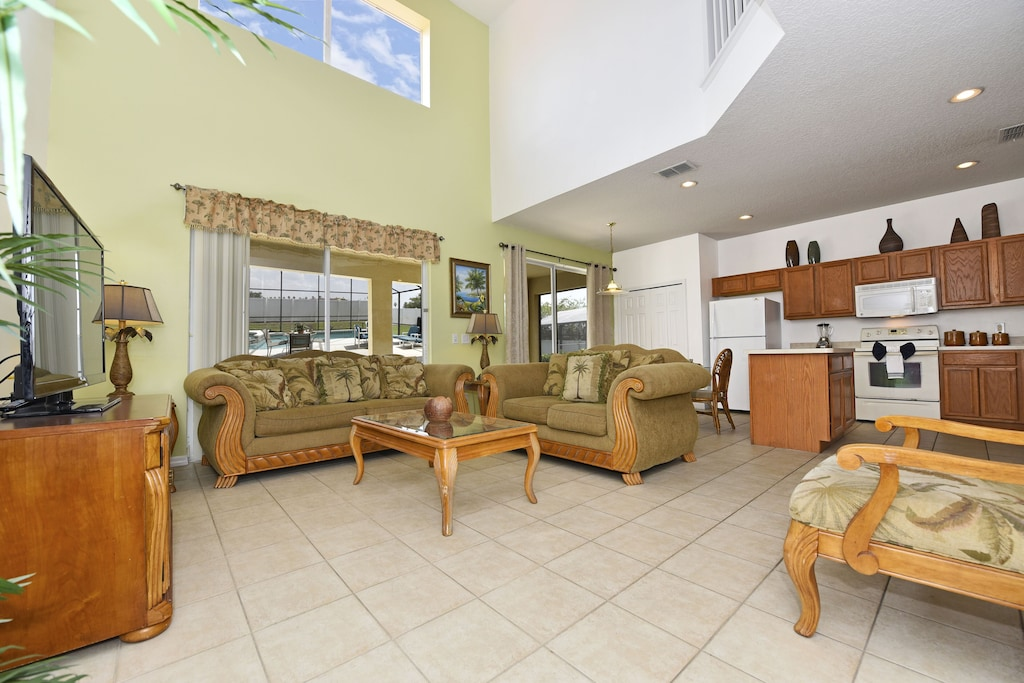 Large open family room and kitchen