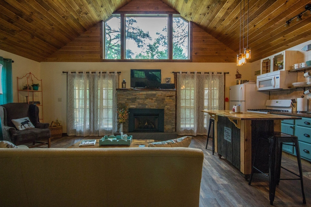Open rustic interior with beautiful decorations and warmth
