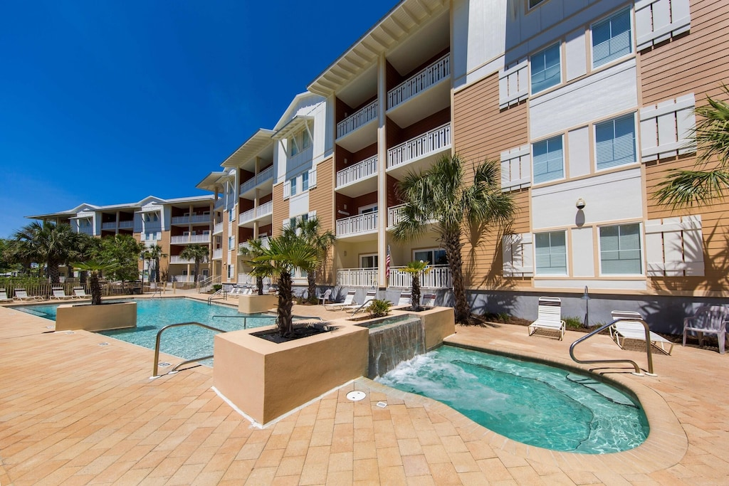 We have the best pool and hot tub area in Mexico Beach!