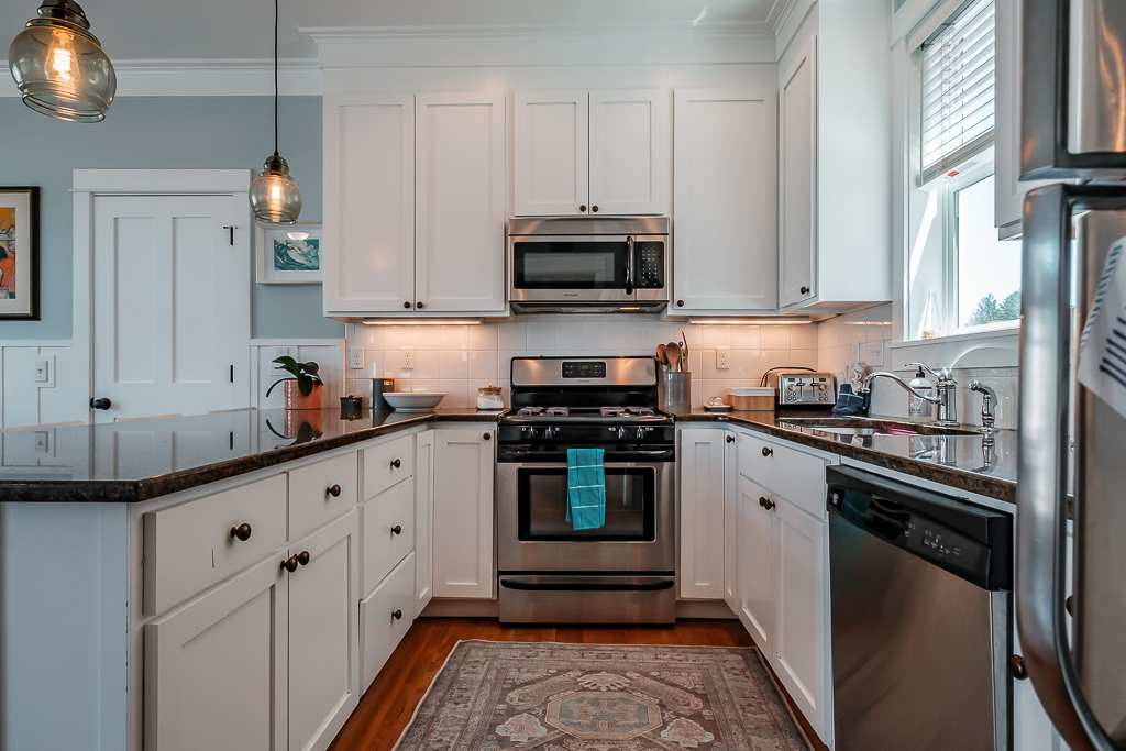 Modern white kitchen is great for cooking for your group.