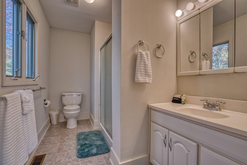 Master bathroom with walk-in shower vanity with sink and discreetly placed toilet