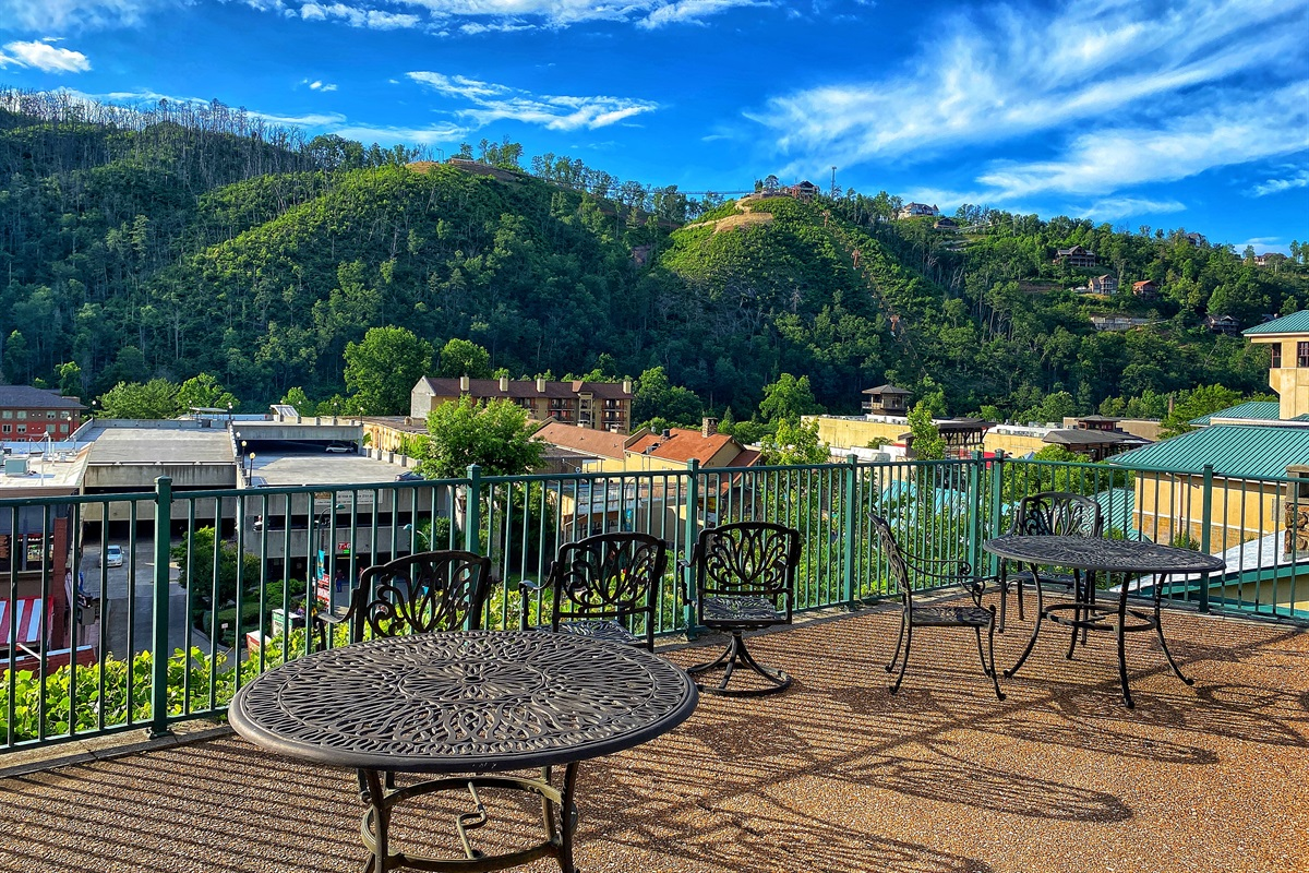 Community patio with excellent view of parkway
