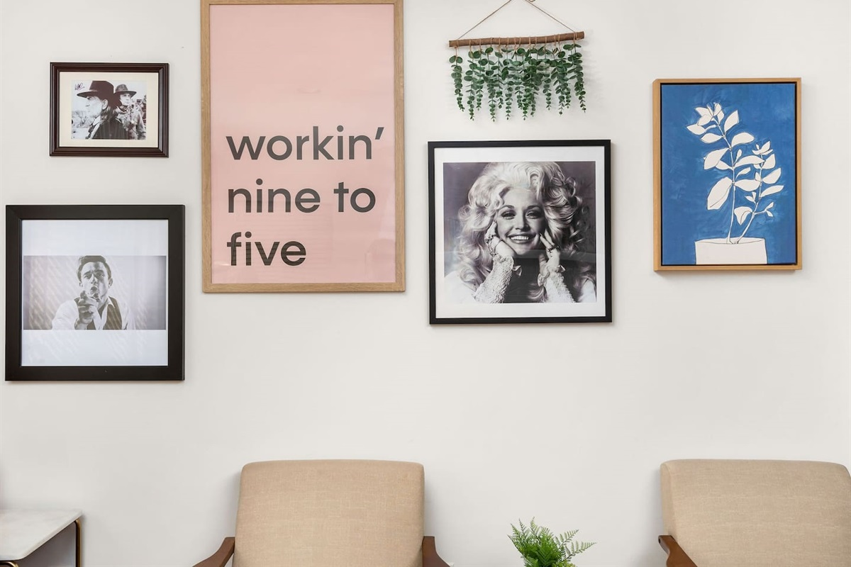 Collection of prints and photographs that set the stage (no pun intended) for the rest of the home