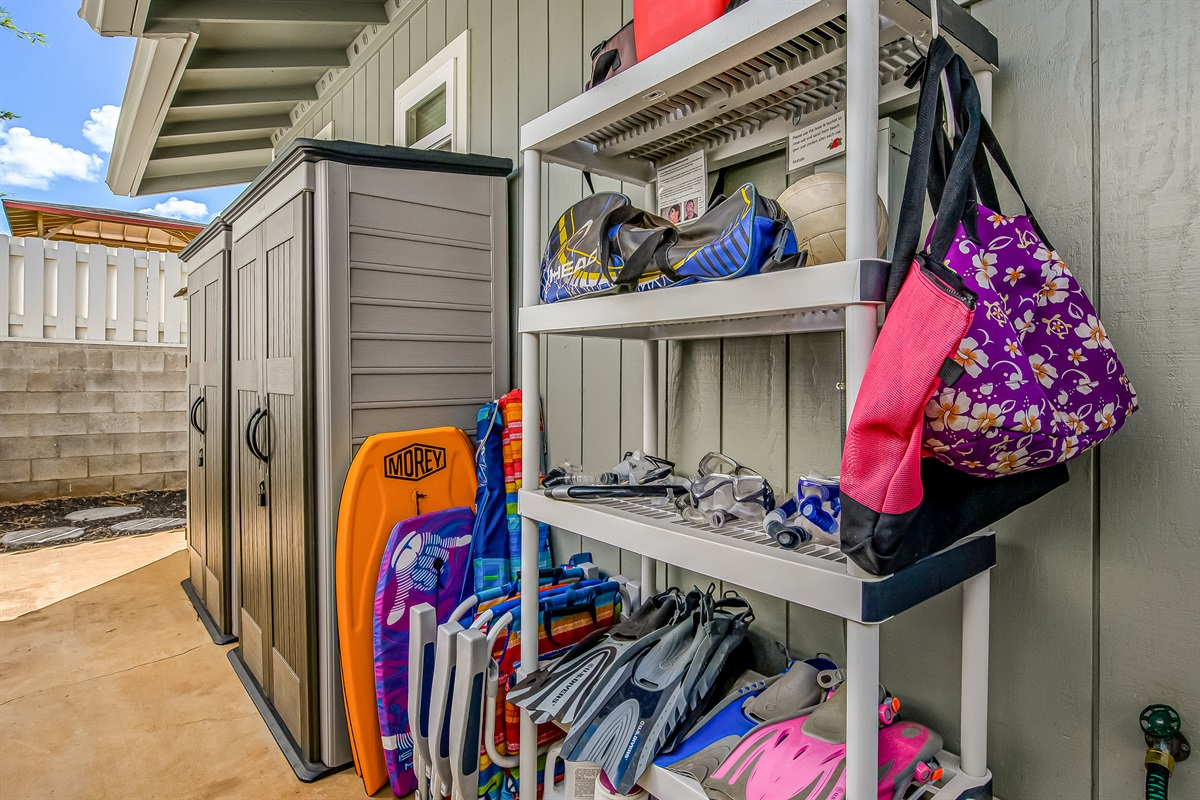 Snorkel equipment, coolers, beach chairs, umbrellas, boogie board, tennis items