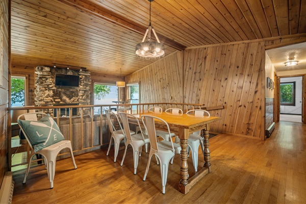 The dining room can seat up to 8 and is perfect for meals or family game night.