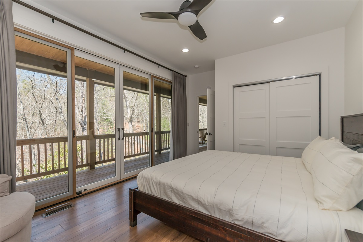 Master Bedroom with Deck Access to Hot Tub