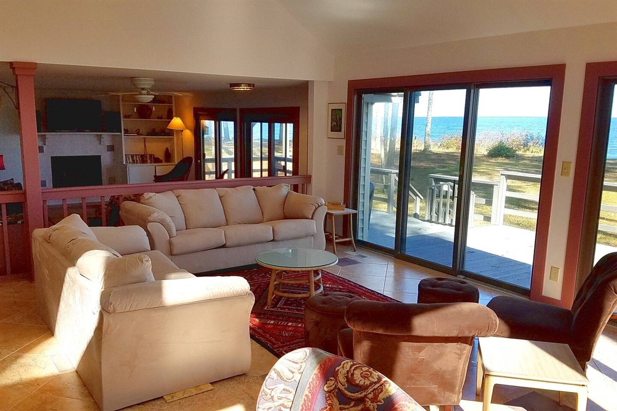 Main Living Room Area with sliding glass doors to deck  -> yard -> beach -> water!