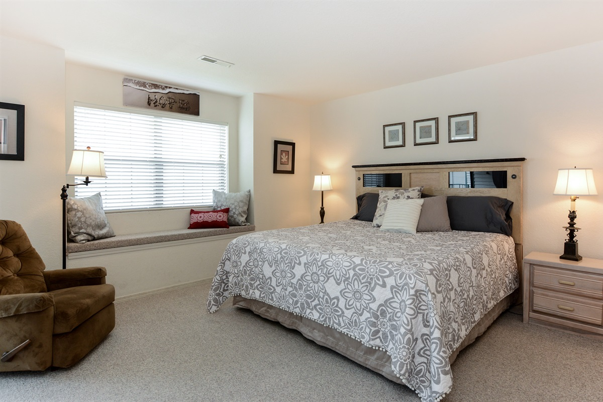 The Master Suite has a brand--new king bed and plenty of room to stretch out!
