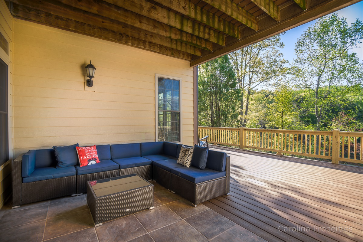 Super spacious lower level deck overlooking the lake