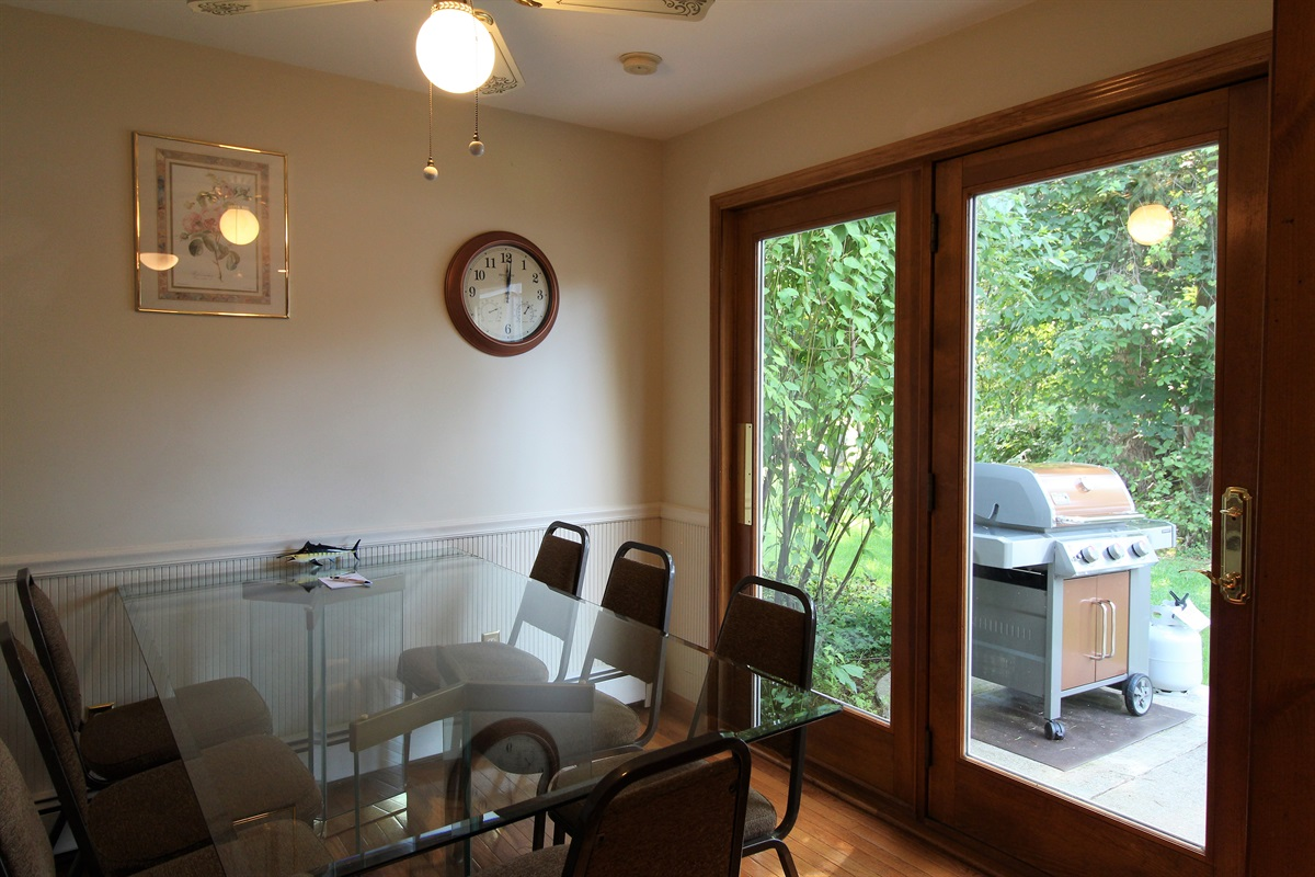Dining room access to your private patio and gas grill