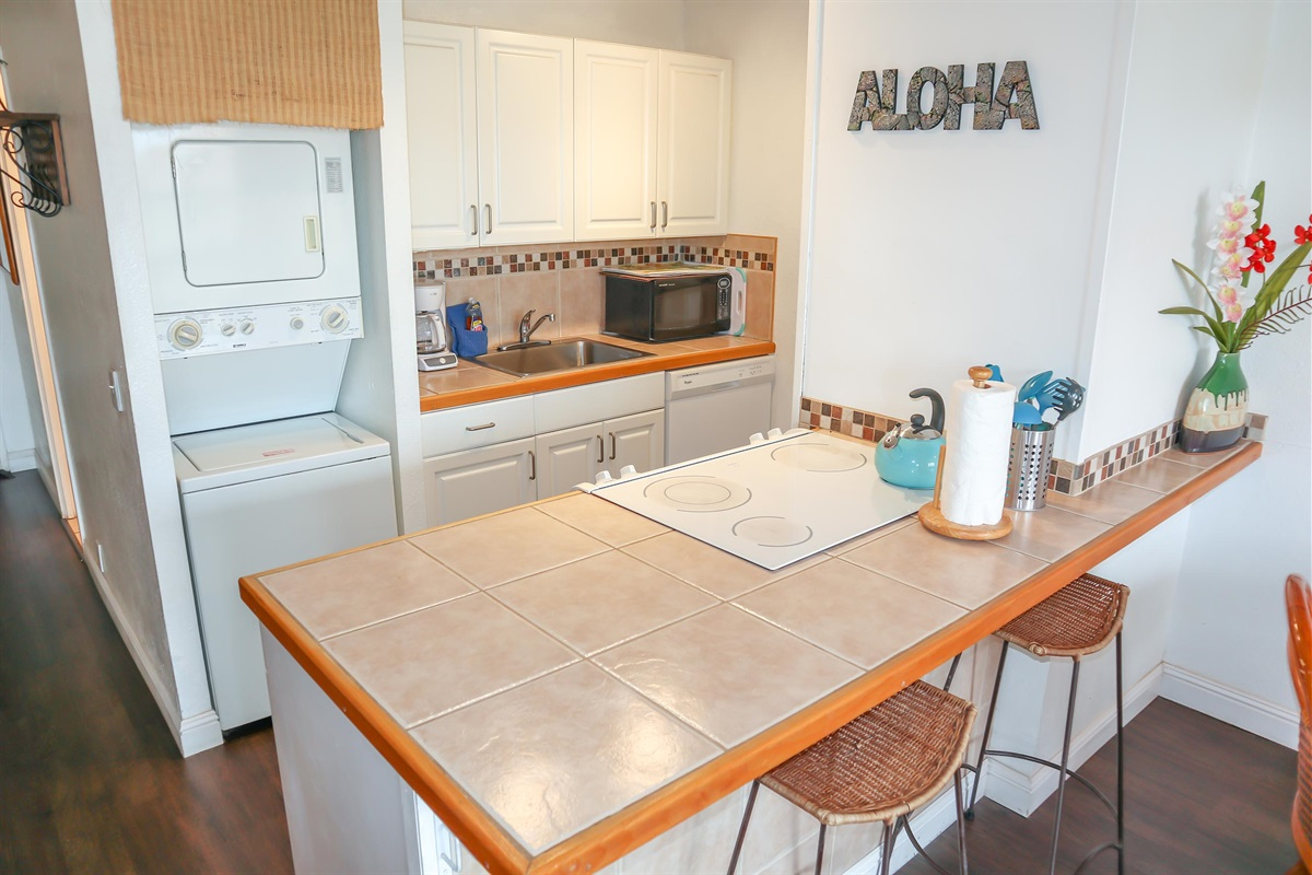 Fully equipped kitchen, washer-dryer in unit
