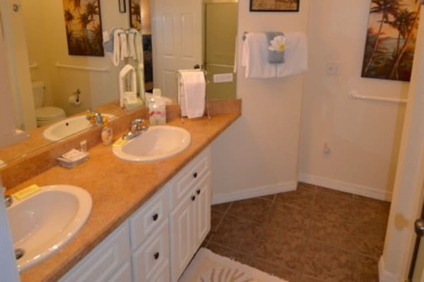 Double sinks make getting ready easy