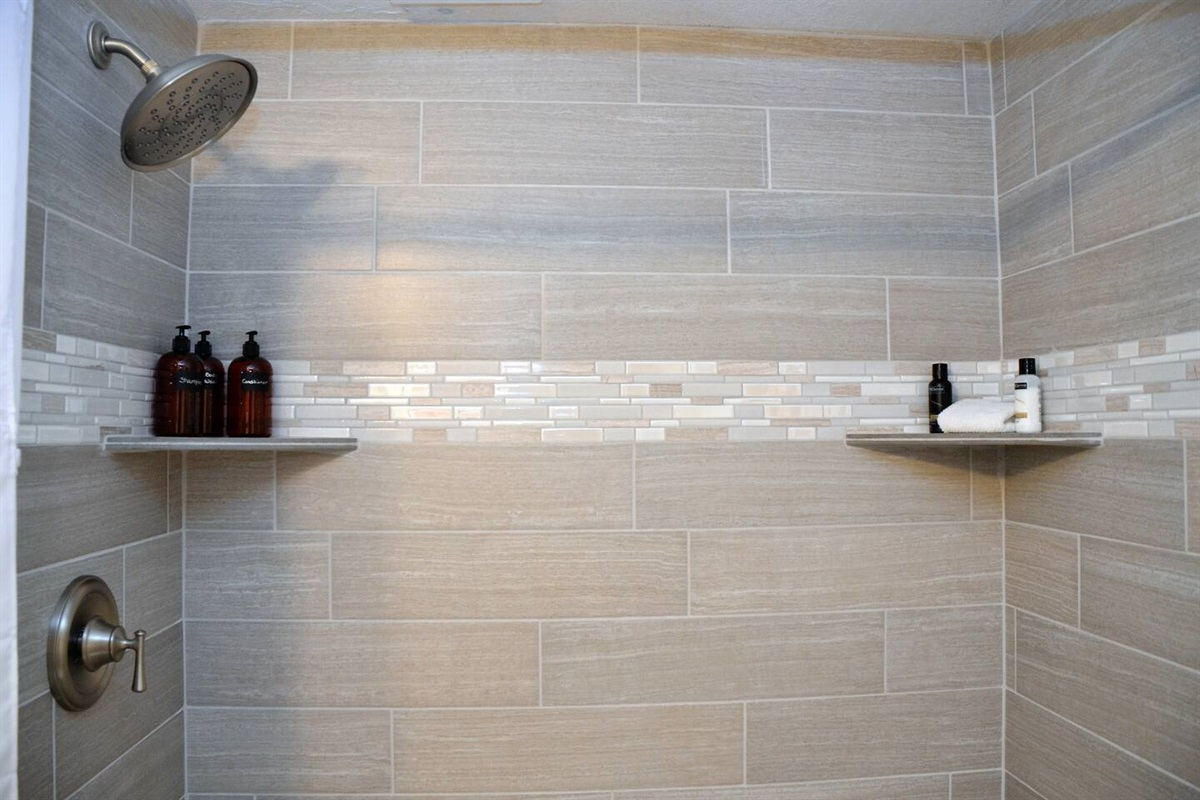Newly remodeled second bathroom with large walk in shower