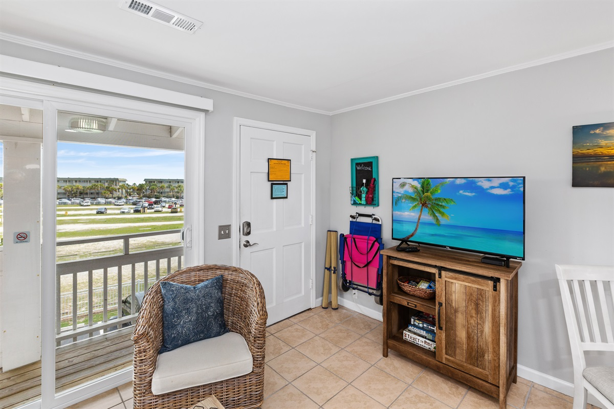 Smart TVs in both rooms, games, and beach items for guest use.