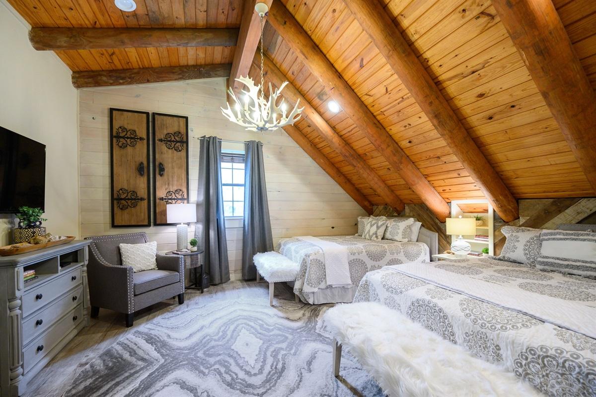 Upstairs Bedroom features 2 queen beds