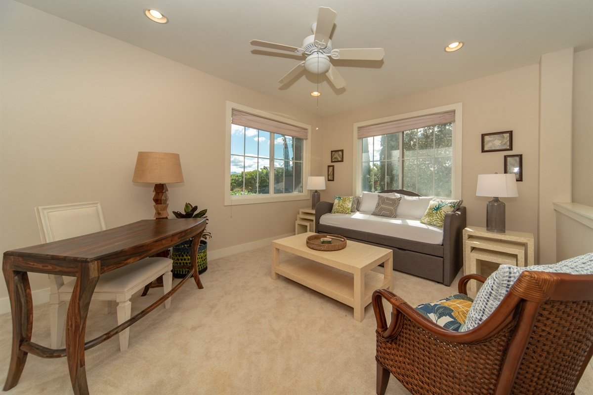 Watch the daylight spill into the Sunroom while you work at the desk, read a book, or take a little cat nap :)