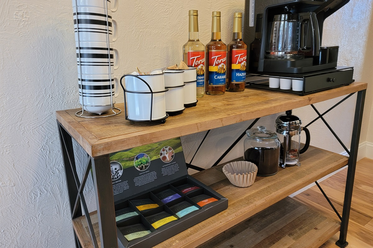 Coffee Bar with Drip, K-Cups, French Press, and flavored pumps!