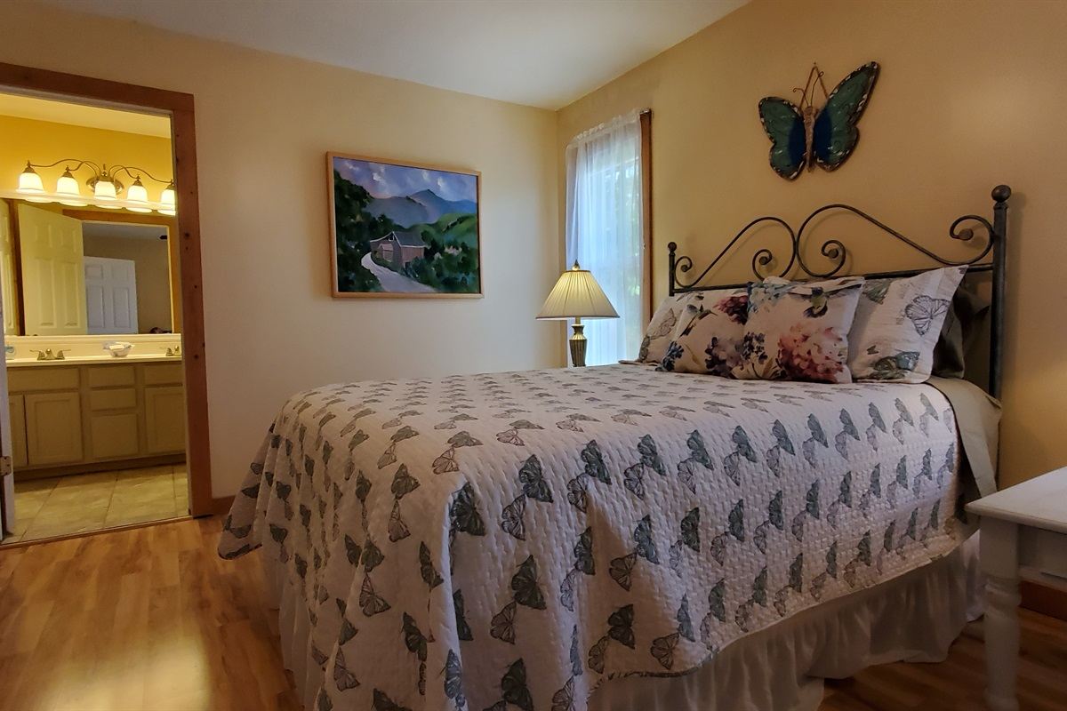 Queen bedroom located upstairs with attached full bath